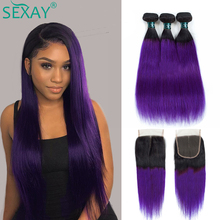 SEXAY Purple Brazilian Hair Weave Bundles With Lace Closure Pre Colored Remy Straight Hair Ombre Human Hair Bundles With Closure