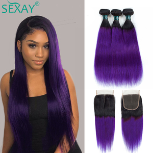 SEXAY Purple Brazilian Hair Weave Bundles With Lace Closure Pre Colored Remy Straight Hair Ombre Human Hair Bundles With Closure(China)