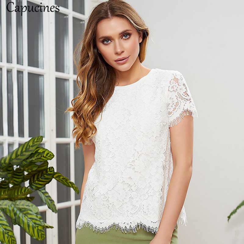 Fashion White Floral Lace Tops Summer O-Neck Short Sleeves Blouse Shirt Casual Loose Women Tops Sweet Female Blusas