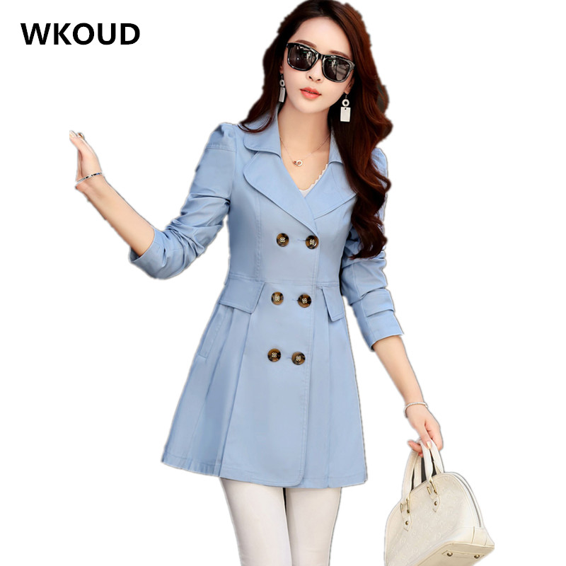WKOUD 2018 Women's   Trench   Coats Solid Slim Long   Trench   Double Breasted Casual Fall Overcoats Turn-down Collar Outerwear C8002