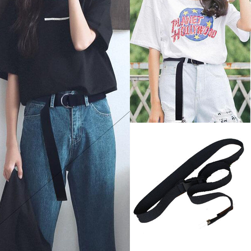 D ring buckle   belt   Harajuku zipper all-match ultra long canvas   belt   lovers brief solid color long   belt   110cm long
