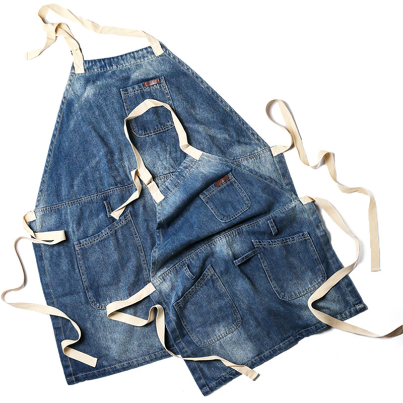 Kid Adult Full Length Blue Denim Apron Children School Crafting Painting Baking Cooking Clothes Florist Barista Work Wear K14