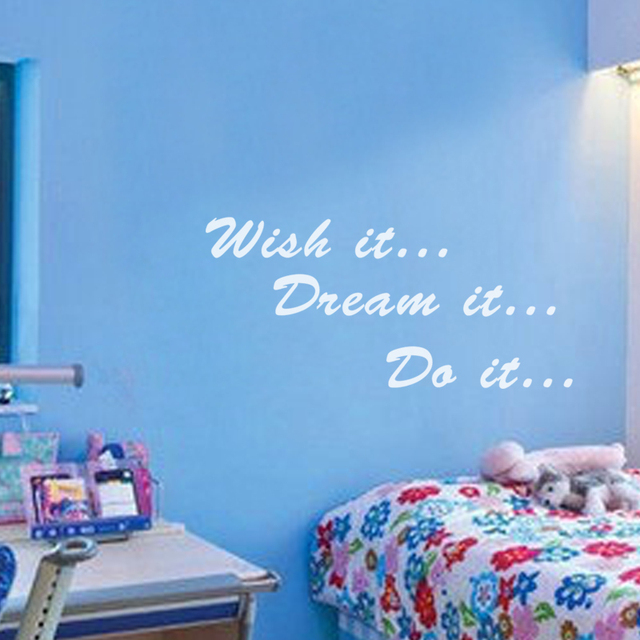 Wish It, Dream It, Do It   Inspirational Wall Decal Sticker Kids Children  Nursery