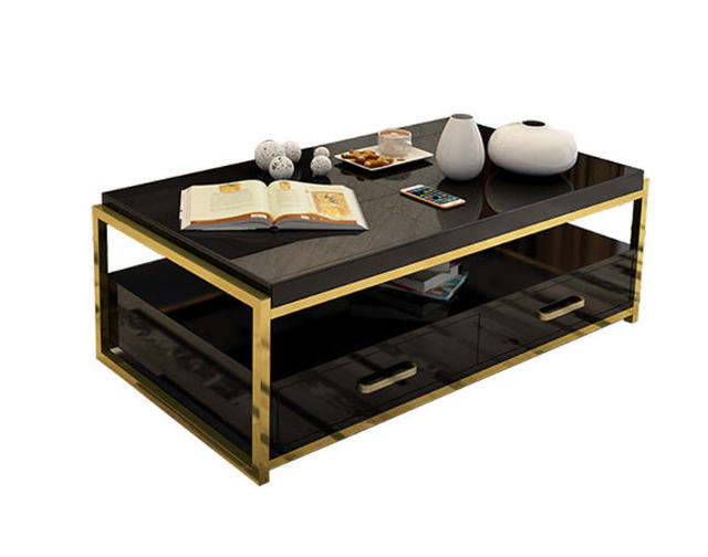 Natural glass Stainless steel Coffee Table Living Room Home ...