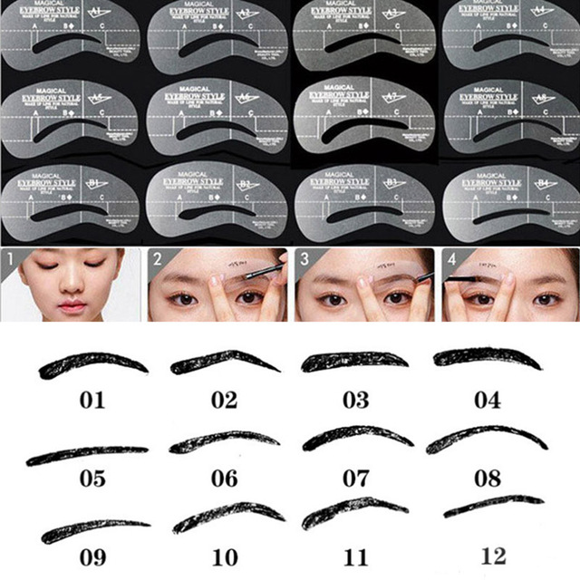 Eyeliner stencil human hair Eyebrow Stencil Mold guide shaper template permanent make up eye brow shaping kit perfect eyebrows