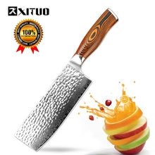 XITUO 7inch High-Quality Kitchen Knife Japanese VG10 Damascus Chef Color Wood Handmade Forged Santoku Cleaver Slicing Tool