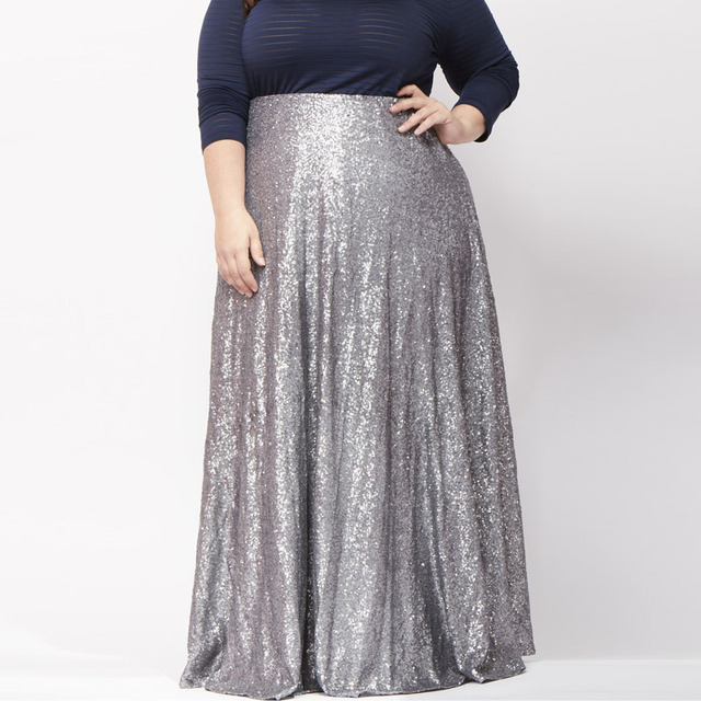 aa4c8f66a0c Plus Size Silver Sequins Long Skirt High Waist Floor Length A Line Maxi  Skirt Sequined Bodycon Mermaid Work Swing Skirts Womens
