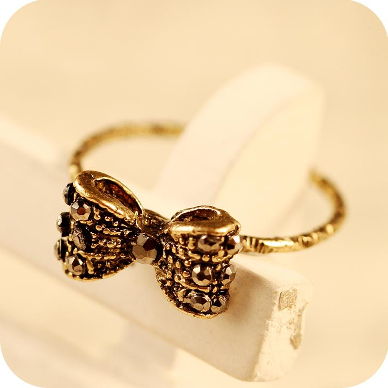Wedding Ring Styles: 2015 New Style Vintage Antique Bronze Gold Crystal Bowknot