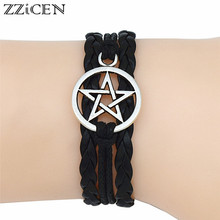 4 Colors New Gothic Fashion Antique Silver Pentagram Charms Wiccan Pentacle Leather Bracelets Vintage Jewelry Gift for Women Men(China)