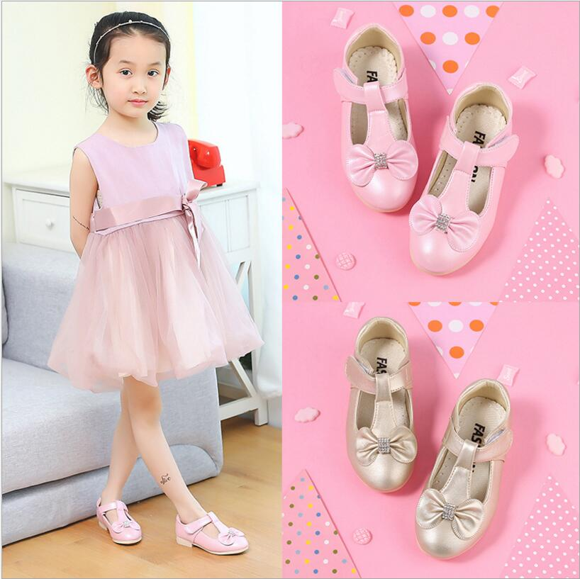 2018 New Fashion Sweet Princess Flower Bow Leather Shoes For Girls Kids Wedding Birthday Party White School Leather Shoes 36