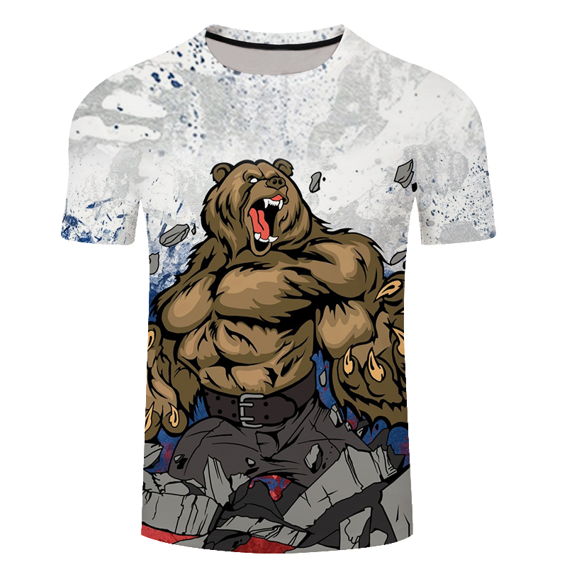 Brand Russia T-<font><b>shirt</b></font> Bear 3D T <font><b>Shirt</b></font> Russian Flag Tshirt Fitness T <font><b>Shirt</b></font> Men 3d <font><b>Anime</b></font> Tshirts <font><b>Sexy</b></font> Male <font><b>Shirts</b></font> Mens Clothing image