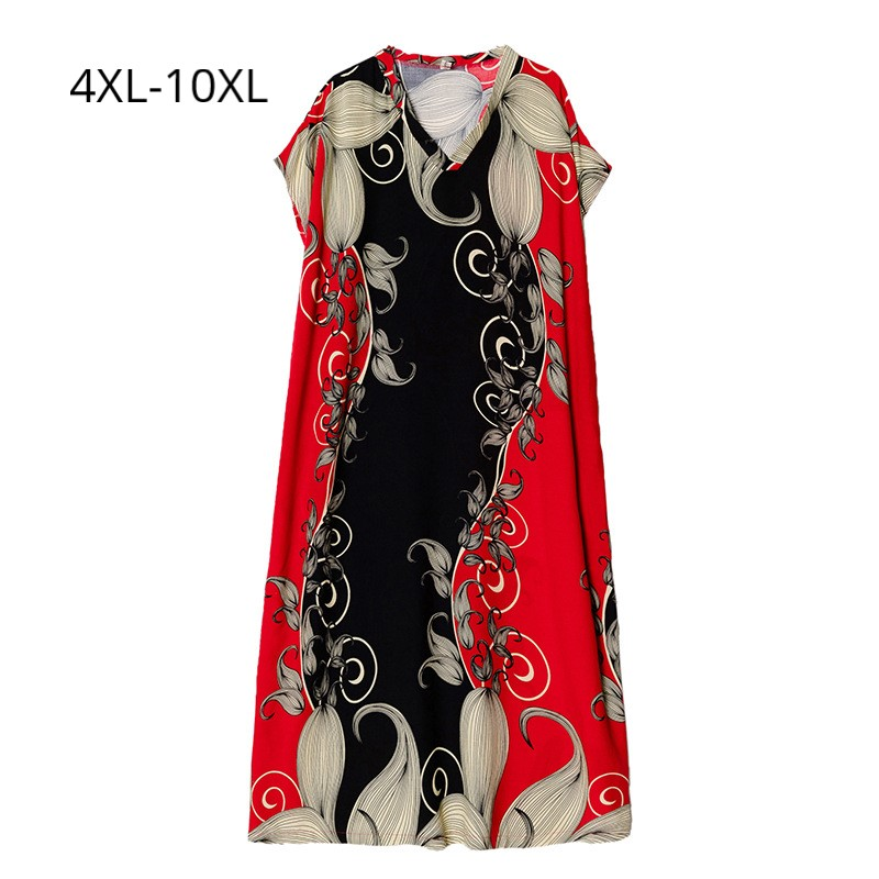 Women's Summer Dresses Floral Cotton Linen Fabric Casual Loose V neck Short Sleeves Maxi Beach Dress Plus Size 10XL 4XL Robes