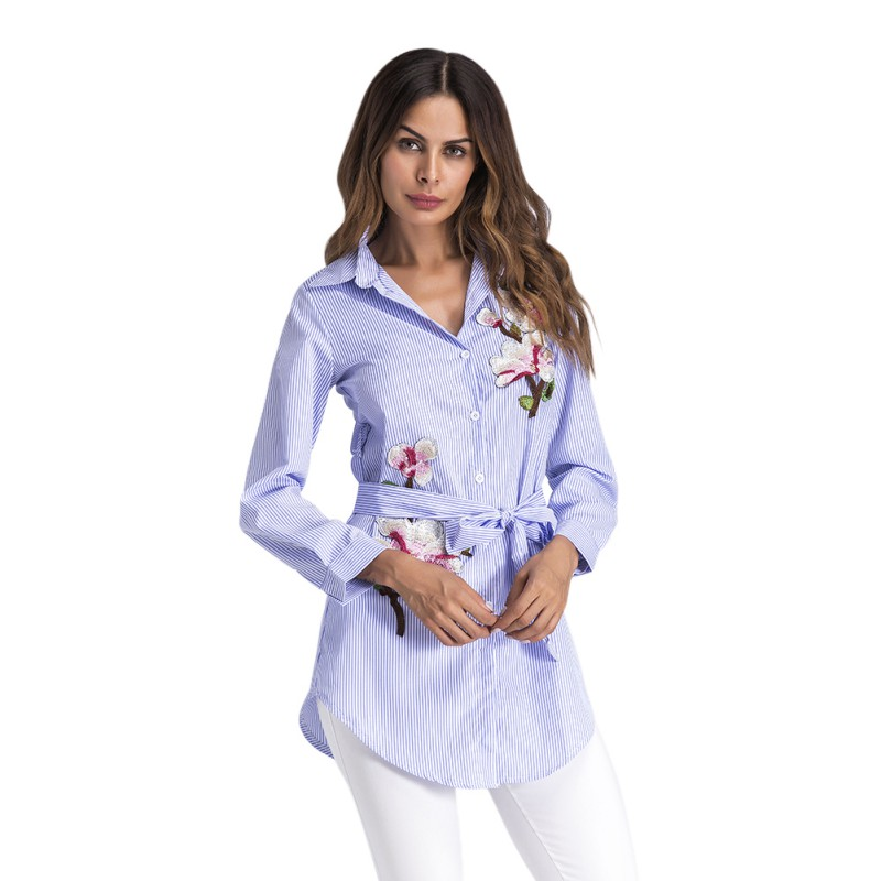 2018 Fashion Women Embroidery Long Blouse Blue And White Striped Lapel Long Sleeve Self Belted Embroidered Women Blouse  H8