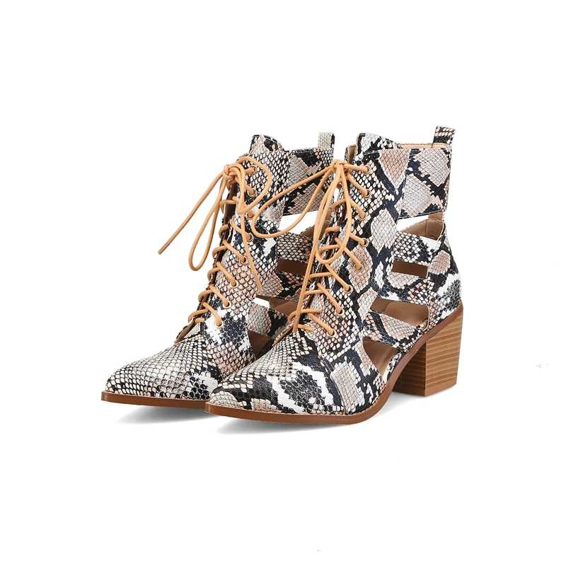 2019 Womens Puntschoen Gesp Serpentine Patroon PU Lederen Enkellaarsjes Cut Out Lace Up Chunky Hak Gladiator Plus size