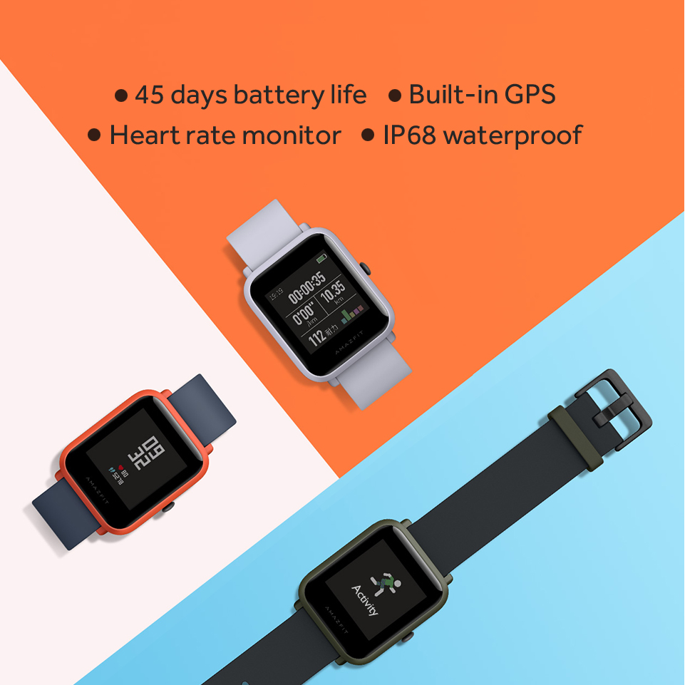 huami amazfit bip smart watch with reflection color screen ip68 waterproof technology and gps for android & ios