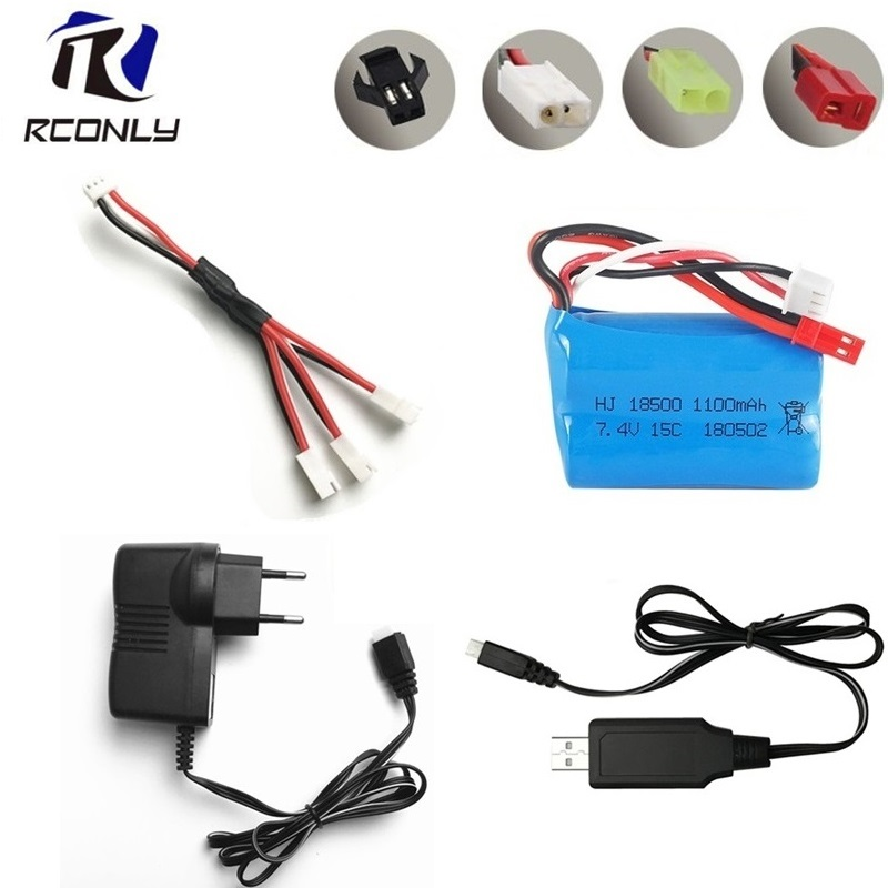 For MJX T10 T11 T34 7.4v 1100mAH 15c Lipo Battery For Remote Control Helicopter Li-po Battery 7.4 V 18500 Toys Battery Charger