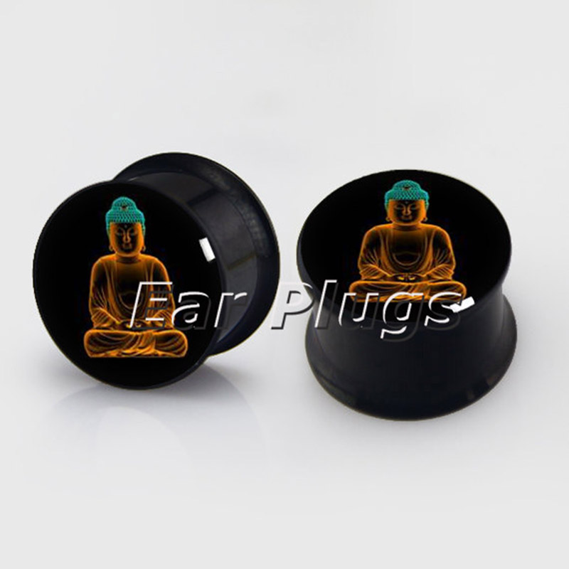 1 pair Buddha plugs anodized black ear plug gauges steel flesh tunnel body piercing jewelry 2 pieces