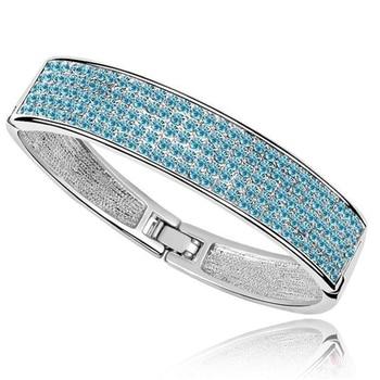 Blue Austrian Crystal Women Bangle Bracelet Femme Turkish India Jewelry Famous Brand Jewellery Simple Statement Bangles 5 Colors jewellery