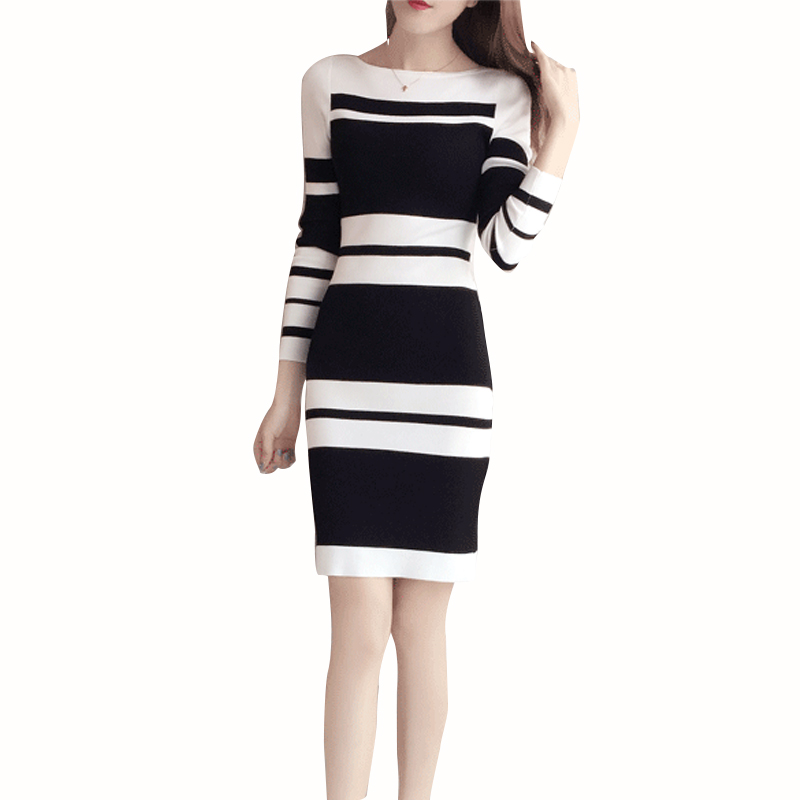 winter rib sweater dress for women long 2017 new office elegant sexy sleeve striped knitted wool 1536