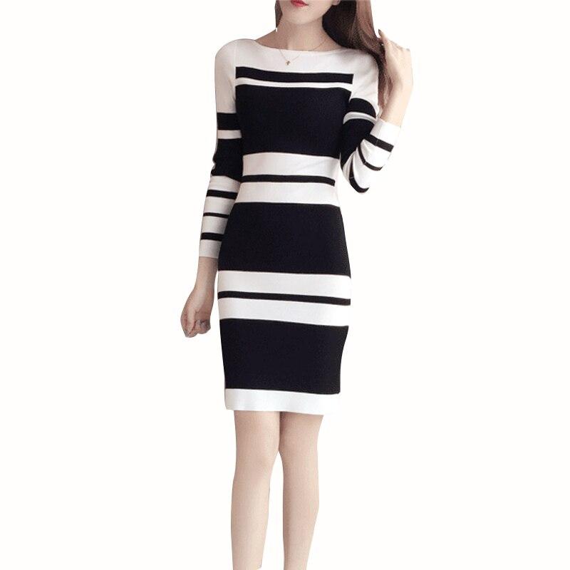 winter rib sweater dress for women long 2019 new office elegant sexy dress long sleeve striped women knitted dress wool 1536