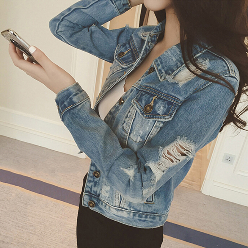 Women Jeans Jacket Denim Coat Casual Outerwear Tops Autumn Long Sleeve Frayed Vintage Jeans Coat Female Chaquetas Mujer DP930966