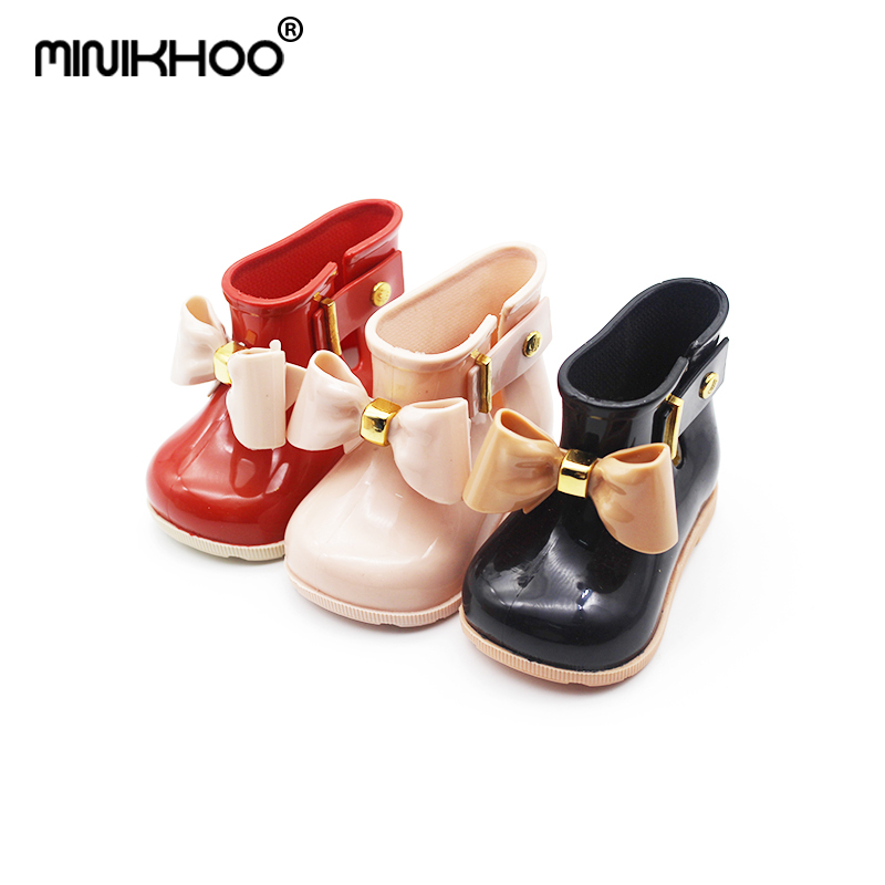 Mini Melissa Bow Boot Baby Rainboot Unisex Child Rain Boots for Girls Non-slip Jelly Sandals 11.8cm-18.8cm Girl Water Shoes