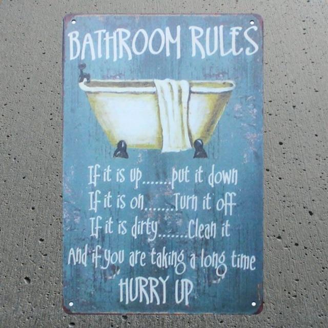 Bad Regeln Zinn Blechschilder Vintage Platten Für Wand Bar Home ...