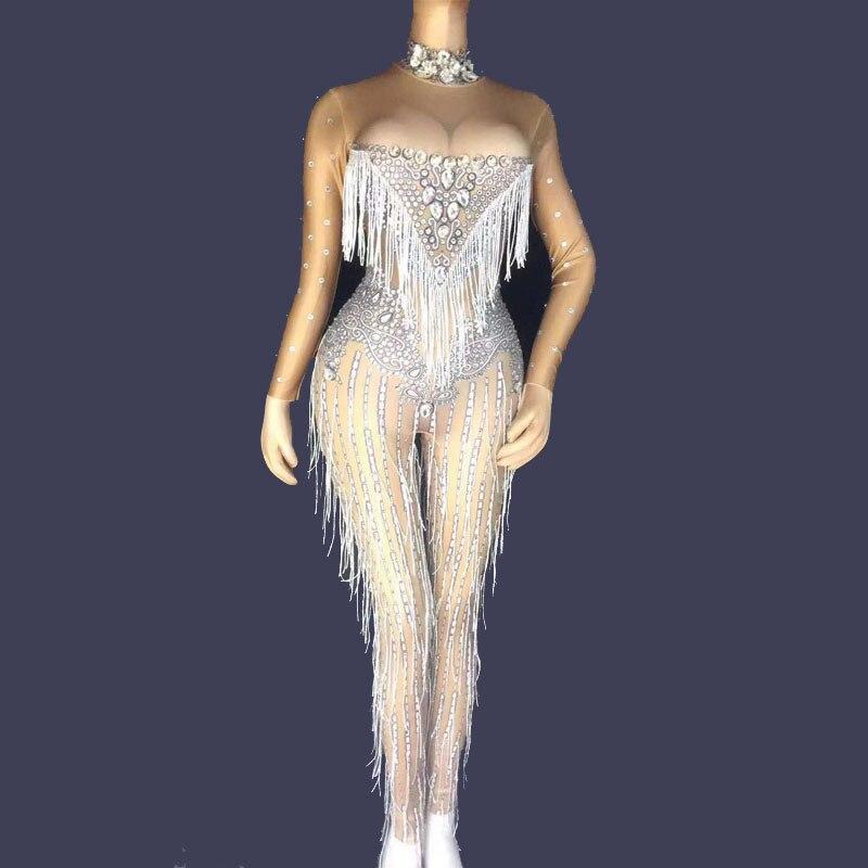 Silvery Fringes Bright Rhinestones Bodysuit Women's Birthday Dance Stage Costume Nightclub Dance Female Singer Show Outfit Dress