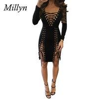 Millyn של האופנה נשים בנות V העמוק חלולה תחבושת שמלה מלא שרוול v-צוואר סקסי מועדון המפלגה שמלת השמלה מזדמן פאנק S-3XL
