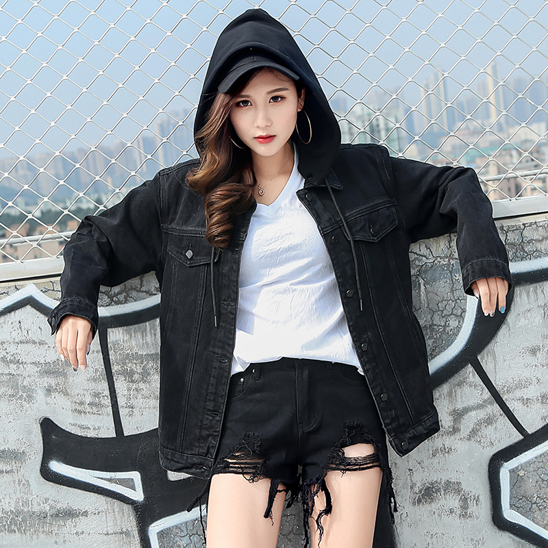 New 2018  Hooded Black Jean Jacket Women Boyfriend Denim Jacket Autumn Womens Jackets and Coats Single Breasted Jeans Jacket
