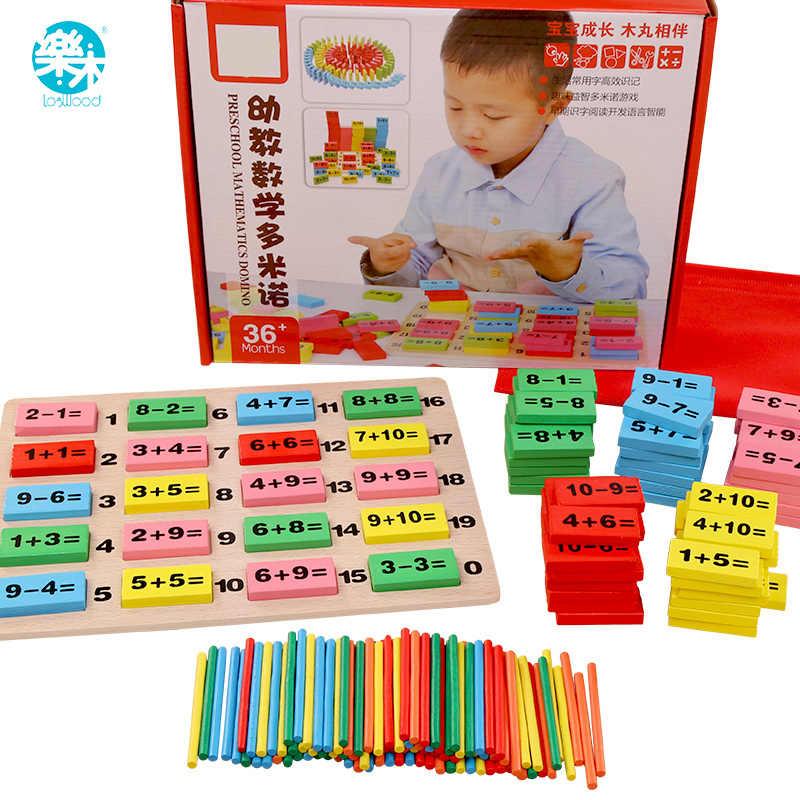 Logwood ของเล่นไม้เด็กโดมิโนบล็อก Montessori ไม้ของเล่นคณิตศาสตร์สำหรับเด็ก 3-4-5-6-7-8 ปีนับเกมตลกของขวัญเด็ก