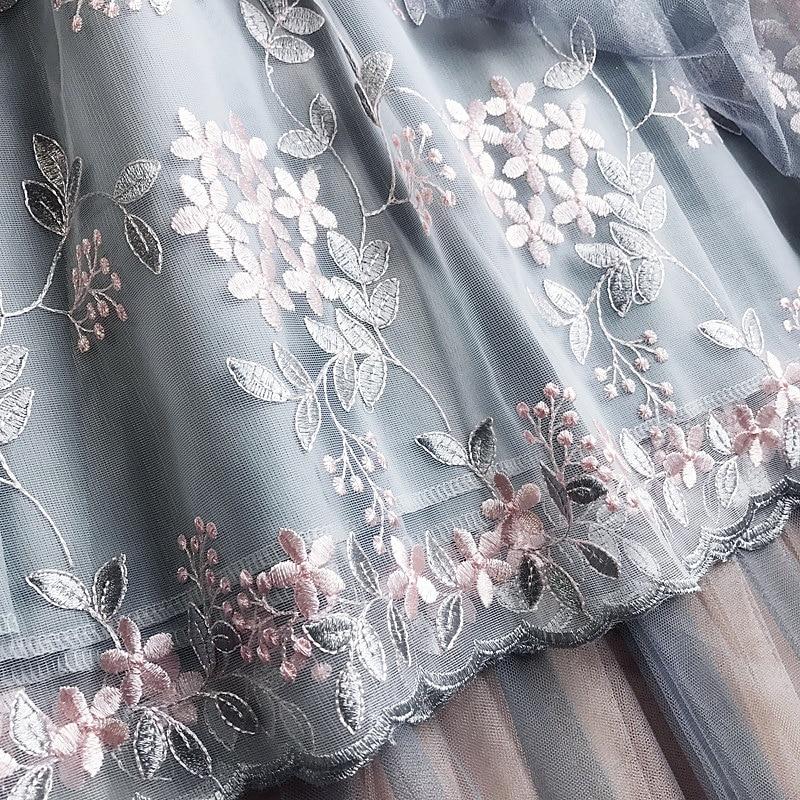 Long Mesh Skirt Pleated 2019 New Summer Sweet Fairy A-Line Skirts Floral Embroidery Tulle Midi Skirt Saias Faldas Jupe Femme