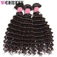 WONDESS Hair Peruvian Virgin Hair Deep Wave Bundles 3 Pieces Natural Color Human Hair Bundles 12 26inch Hair Extensions