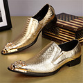 2017 Dragon Metal Pointed Toe Men Dress Shoes Gold Silver Snakeskin Pattern Chaussure Homme Handsome Wedding Shoes Mens Creepers
