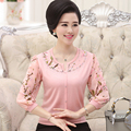 Sweaters Autumn 2016 new women's fashion thin sweater loose elegant mother clothing knitted sweater top big size M-4XL