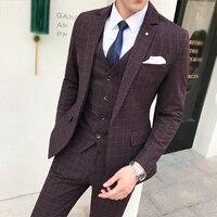 (Пиджак + брюки + жилет) роскошные Для мужчин Свадебный костюм мужской Пиджаки Slim Fit костюмы для Для мужчин костюм Бизнес праздничная одежда В
