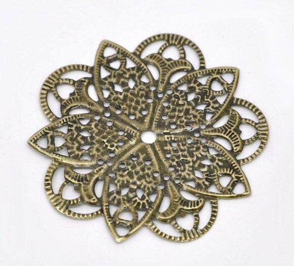 Doreen Box Lovely 50 Bronze Tone Filigree Flower Wraps Connectors 46mm (B14168) цена и фото