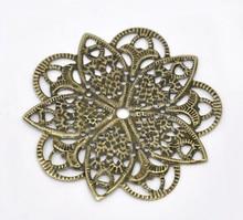 Doreen Box Lovely 50 Bronze Tone Filigree Flower Wraps Connectors 46mm (B14168)
