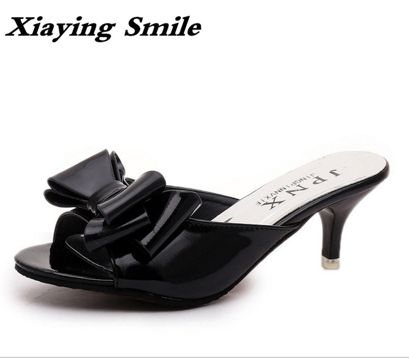 Xiaying Smile Summer Woman Sandals Shoes Women Slippers Creeper Slides Thin Heels Fashion Casual Sweet Bowtie Rubber Women Shoes xiaying smile summer new woman sandals platform women pumps buckle strap high square heel fashion casual flock lady women shoes