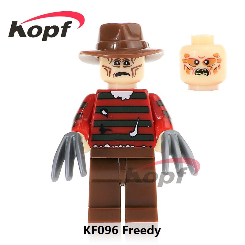 Single Sale KF096 The Horror Theme Movie Freedy Candyman Hannibal Scary Mask Halloween Bricks Building Blocks Children Gift Toys 2pcs lot harry potter series death eater mask halloween horror malfoy lucius resin masks toy private party cosplay toys gift