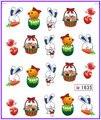 6 упак./лот блеск воды пропуск ногтей наклейки на кролика пасхальное яйцо чик SY1635-1640