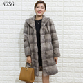 2017 New Fur Mink Coat Women Thickness Slim Length Pattern European And American Style Winter Coat With Fur Trim Hood 8015