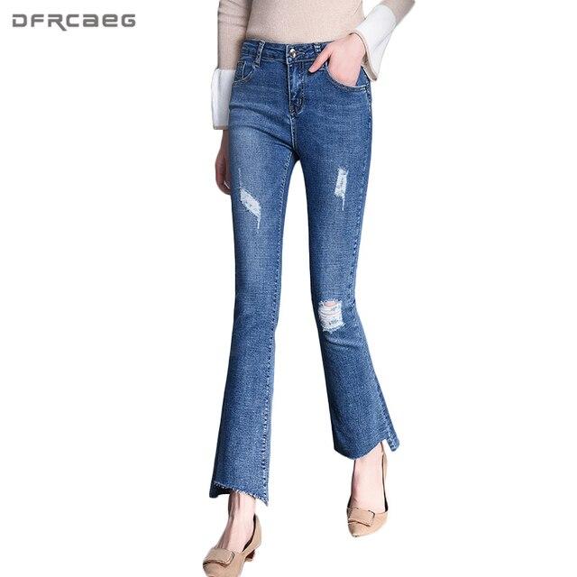 6d572896ac6 Talle alto Vaqueros feminino vintage pantalon Taille Haute Femme Slim  streetwear Pantalones campana rasguñado agujero Denim