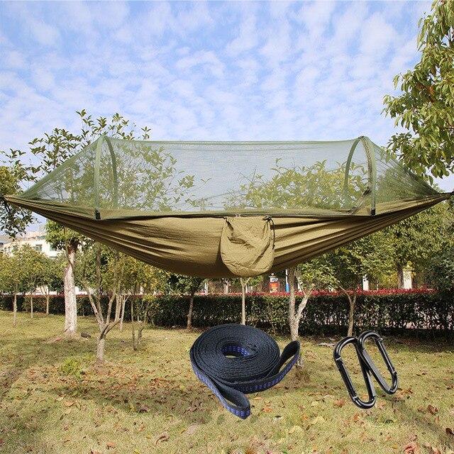 Di động Cắm Trại Ngoài Trời Võng với Đèn Bắt Muỗi Vải Dù Võng Giường Treo Đầm Ngủ Cây Lều