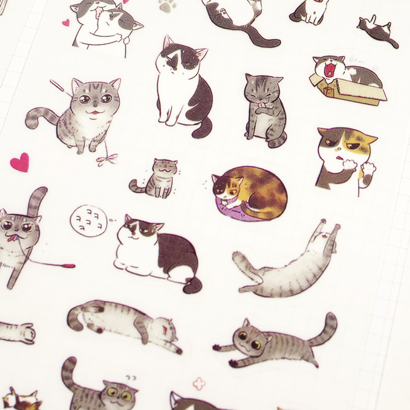 6Sheets/lot Cute Mini Cat Pvc Transparent Korean Sticker Decoration Diy Ablum Diary Scrapbooking Label Sticker Kawaii Stationery 6 sheets set book planner mobile sticker cat diary scrapbook calendar notebook label decoration free shipping