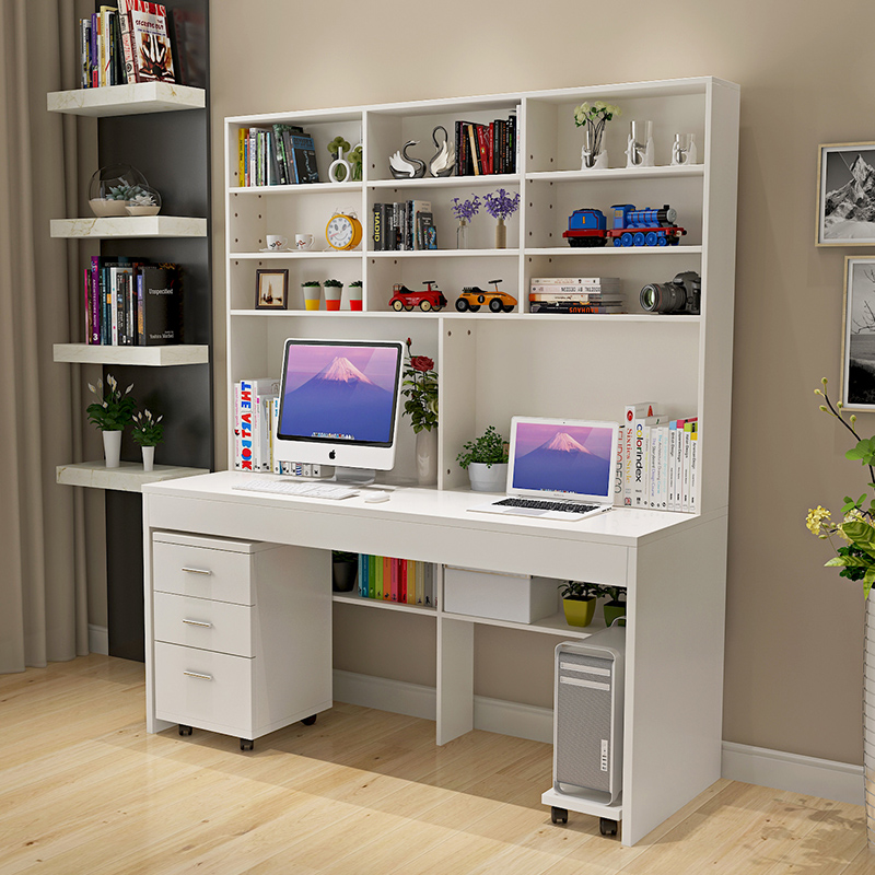 Bedroom Office Furniture: Computer Desk With A Simple Modern Desktop Bookcase Desk