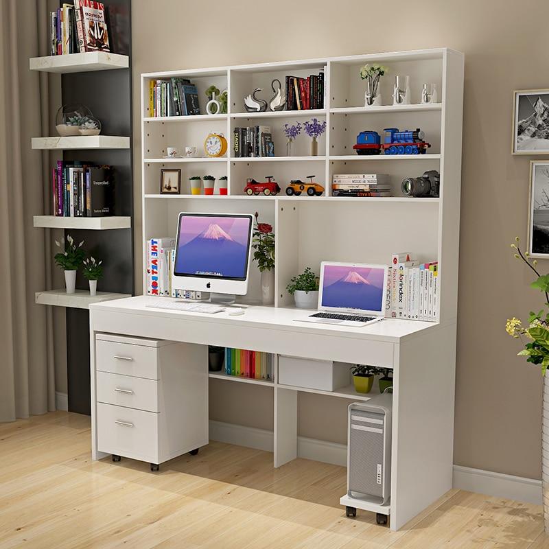 Computer desk with a simple modern desktop bookcase desk