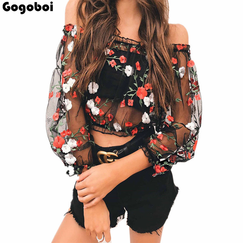 New Fashion Sexy Lace Women See through Sheer Mesh Embroidery Long Sleeve Tee high-quality T Shirt Off Shoulder Tops Clubwear