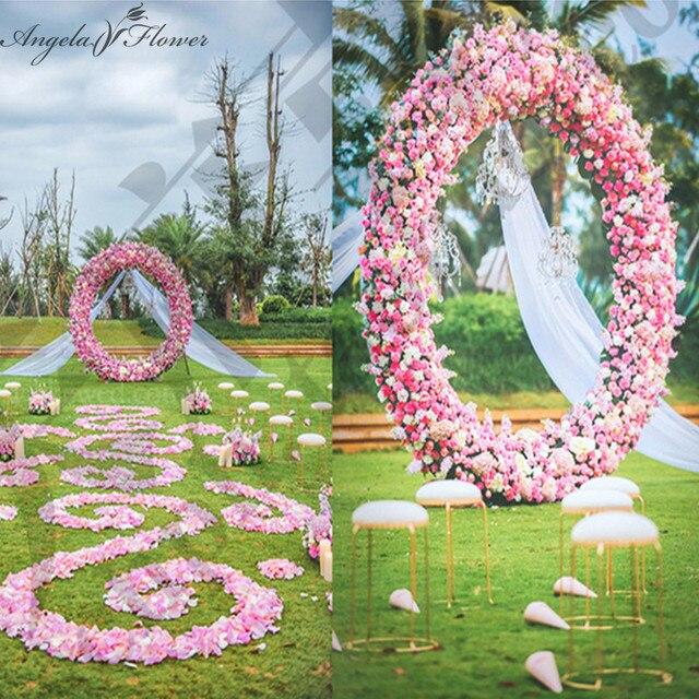 Wedding Silk Flower Circle Arch Make Up Whole Round Artificial Rose Hydrangea Peony Mix
