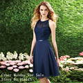 2017 Elegant Halter Short Navy Blue Lace Bridesmaid Dress Cutout Back Chiffon Knee-Length Cheap Bridesmaid Gowns Vestidos